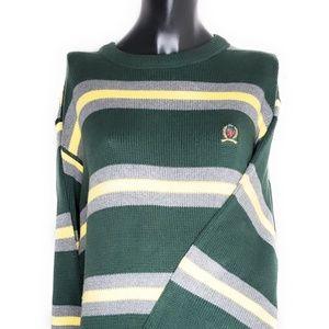 VINTAGE Tommy Hilfiger Sweater Large Green Striped